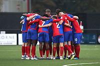Dagenham FC huddle ahead of kick-off during Bromley vs Dagenham & Redbridge, Vanarama National League Football at the H2T Group Stadium on 24th November 2018