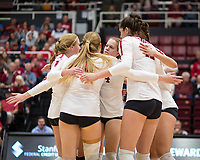 Stanford, CA - November 1, 2019: Kate Formico, Jenna Gray, Meghan McClure, Audriana Fitzmorris at Maples Pavilion. The No. 5 Stanford Cardinal swept the Oregon State Beavers 3-0.