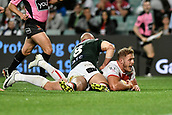 4th November 2017, Sydney Football Stadium, Sydney, Australia; Rugby League World Cup, England versus Lebanon; Tom Burgess of England scores a try as Tim Mannah of Lebanon fails to stop him