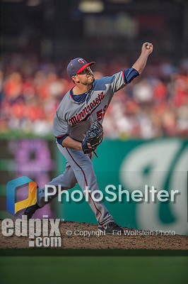 8 June 2013: Minnesota Twins pitcher Brian Duensing on the mound against the Washington Nationals at Nationals Park in Washington, DC. The Twins edged out the Nationals 4-3 in 11 innings. Mandatory Credit: Ed Wolfstein Photo *** RAW (NEF) Image File Available ***