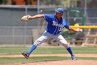Andrew Vasquez #25 of the UC Santa Barbara Gauchos pitches against the Cal State Northridge Matadors at Matador Field on May 12, 2013 in Northridge, California. Cal State Northridge defeated UC Santa Barbara 7-1. (Larry Goren/Four Seam Images)