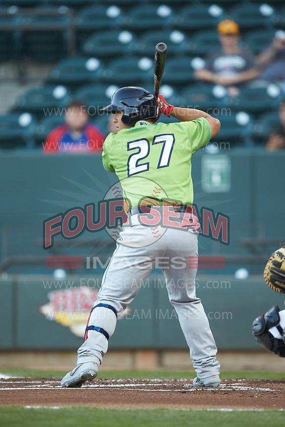 Li-Jen Chu (27) of the Lynchburg Hillcats at bat against the Winston-Salem Dash at BB&T Ballpark on May 1, 2018 in Winston-Salem, North Carolina. The Dash defeated the Hillcats 9-0. (Brian Westerholt/Four Seam Images)