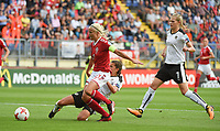 20170803 - BREDA , NETHERLANDS : Danish Pernille Harder (M) with Austrian Laura Feiersinger (down) and Carina Wenninger (R) pictured during the female soccer game between Denmark and Austria  , the semi final at the Women's Euro 2017 , European Championship in The Netherlands 2017 , Thursday 3th of August 2017 at Stadion Rat Verlegh in Breda , The Netherlands PHOTO SPORTPIX.BE | DIRK VUYLSTEKE