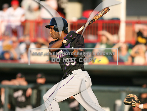 June 30th 2007:  Brian Barton of the Akron Aeros follows through while at bat vs the Erie Seawolves in Eastern League baseball action.  Photo copyright Mike Janes Photography 2007.