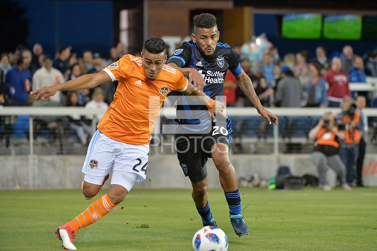 San Jose, CA - Saturday April 14, 2018: Darwin Cerén, Anibal Godoy during a Major League Soccer (MLS) match between the San Jose Earthquakes and the Houston Dynamo at Avaya Stadium.