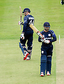 ICC World T20 Qualifier (Warm up match) - Scotland V Namibia at Grange CC, Edinburgh - Scotland's Richie Berrington signals his 50 (with Capt Preston Mommsen) — credit @ICC/Donald MacLeod - 06.7.15 - 07702 319 738 -clanmacleod@btinternet.com - www.donald-macleod.com