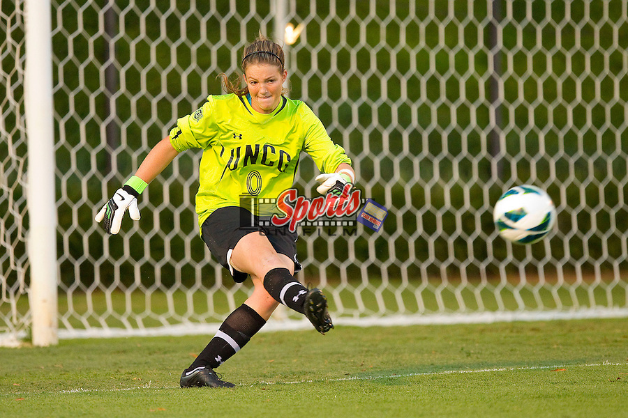 UNCG Spartans goalie Jamie Simmons (0) kicks the ball downfield during first half action against the Wake Forest Demon Deacons at Spry Soccer Stadium on August 24, 2012 in Winston-Salem, North Carolina.  The Spartans defeated the Demon Deacons 1-0.  (Brian Westerholt / Sports On Film)