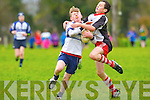 Corca Dhuibhne's Darragh Devane tackles Tralee Sharks Lee O'Byrne at O'Dowd park, Tralee on Saturday.