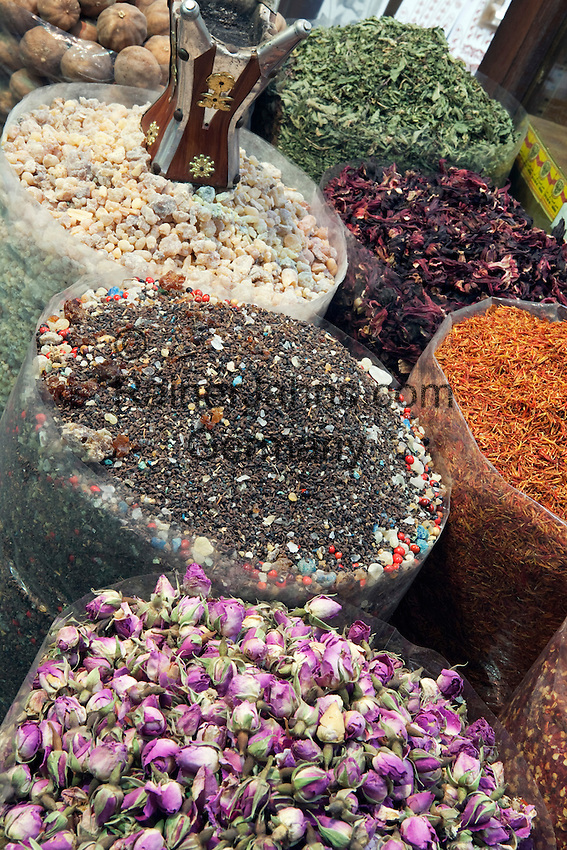 United Arab Emirates, Dubai: The spice souk, detail of spices