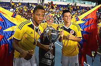 BARRANQUILLA- COLOMBIA, 22-10-2014.  La Selección Colombia Sub-20 venció 2-1 a Perú  durante la final de la Copa 90 Años Liga de Fútbol del Atlántico Sub-20 en el estadio Metropolitano Roberto Meléndez de Barranquilla ./ Sub-20 Team of Colombia defeated to Peru by score of 2-1  in the final match of the Cup 90 years of Soccer League of Atlentico Sub-20 played at Roberto Melendez stadium in Barranquilla city. Photos: VizzorImage / Alfonso Cervantes / Str.