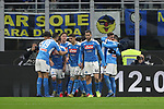 Napoli players celebrate after Fabian Ruiz scored to give the side a 1-0 lead during the Coppa Italia match at Giuseppe Meazza, Milan. Picture date: 12th February 2020. Picture credit should read: Jonathan Moscrop/Sportimage
