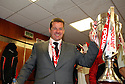 Stevenage manager Graham Westley celebrates in the dressing room after winning the npower League 2 play-off final between Stevenage and Torquay United at Old Trafford, Manchester on 28th May, 2011.© Kevin Coleman 2011.
