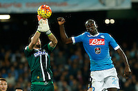 Orestis Karnezis save past  Kalidou Koulibaly  during the  italian serie a soccer match,between SSC Napoli and Udinese      at  the San  Paolo   stadium in Naples  Italy , November 08, 2015