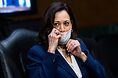 "United States Senator Kamala Harris (Democrat of California), is seen during the US Senate Judiciary Committee hearing titled ""Examining Best Practices for Incarceration and Detention During COVID-19,"" in Dirksen Building in Washington, D.C. on Tuesday, June 2, 2020.<br /> Credit: Tom Williams / Pool via CNP"