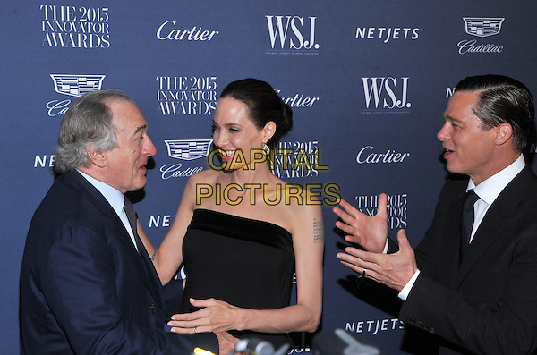 New York,NY-November 4: Robert De Niro, Angelina Jolie Pitt, Brad Pitt attend the WSJ. Magazine 2015 Innovator Awards at the Museum of Modern Art on November 4, 2015 in New York City. <br /> CAP/MPI/STV<br /> &copy;STV/MPI/Capital Pictures