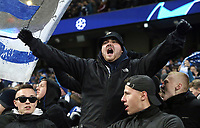 TSG 1899 Hoffenheim fans celebrate as their side take the early lead<br /> <br /> Photographer Rich Linley/CameraSport<br /> <br /> UEFA Champions League Group F - Manchester City v TSG 1899 Hoffenheim - Wednesday 12th December 2018 - The Etihad - Manchester<br />  <br /> World Copyright © 2018 CameraSport. All rights reserved. 43 Linden Ave. Countesthorpe. Leicester. England. LE8 5PG - Tel: +44 (0) 116 277 4147 - admin@camerasport.com - www.camerasport.com