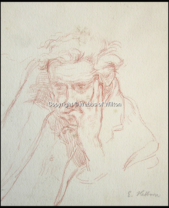 BNPS.co.uk (01202 558833)<br /> Pic: WebbsOfWilton/BNPS<br /> <br /> Portait of Peter Greenham.<br /> <br /> Drawings and paintings by one of the world's most colourful and notorious art forgers, including a sketch that duped a top auctionhouse, are up for sale.<br /> <br /> Master forger Eric Hebborn fooled art dealers, galleries and auction houses worldwide with his work in the style of old masters, and many of his works which were sold as originals still hang in museums and galleries.<br /> <br /> Hugely talented Hebborn could mimic the style's of many of the world's most famous artist's, and the auction contains works 'After' Michelangelo, Rembrandt, Claude, Augustus John and Bandinelli.<br /> <br /> His paintings are being auctioned by Webbs of Wilton in Wiltshire on Wednesday, as well as manuscripts and books on the art of forging.