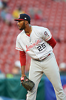 Louisville Bats starting pitcher Amir Garrett (25) looks in for the sign during a game against the Buffalo Bisons on June 22, 2016 at Coca-Cola Field in Buffalo, New York.  Buffalo defeated Louisville 8-1.  (Mike Janes/Four Seam Images)