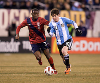 Lionel Messi, Maurice Edu. The USMNT tied Argentina, 1-1, at the New Meadowlands Stadium in East Rutherford, NJ.