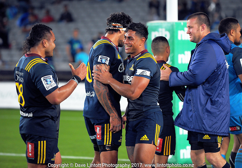 Malakai Fekitoa is all smiles after the Super Rugby match between the Blues and Highlanders at Eden Park in Auckland, New Zealand on Saturday, 11 March 2017. Photo: Dave Lintott / lintottphoto.co.nz