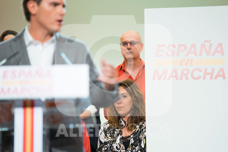 A woman cries during the meeting of President of Ciudadanos, Albert Rivera, with his militants in Madrid. October, 05, 2019. (ALTERPHOTOS/Francis Gonzalez)