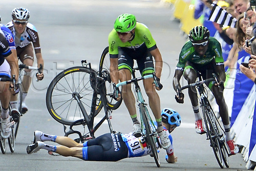 11.07.2014. Eperney to nancy, France. Tour de France cycling tour. TALANSKY Andrew (USA - Garmin Sharp) crashes in front of VANMARCKE Sep (BEL - Belkin-Pro Cycling team) CHUTE