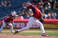 Philadelphia Phillies pitcher Paul Clemens (67) during an exhibition game against the University of Tampa on March 1, 2015 at Bright House Field in Clearwater, Florida.  University of Tampa defeated Philadelphia 6-2.  (Mike Janes/Four Seam Images)