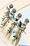 The team of Australia with Amy Cure, Ashlee Ankudinoff, Alexandra Manly and Rebecca Wiasak competes in the Women's Team Pursuit - 1st Round as part of the 2017 UCI Track Cycling World Championships on 13 April 2017, in Hong Kong Velodrome, Hong Kong, China. Photo by Chris Wong / Power Sport Images