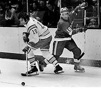 Seals Jim Moxey and Redwing Bryan Watson..(1975/photo Ron Riesterer)