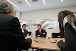 Mar 18, 2010 - Tokyo, Japan - French Foreign Minister Bernard Kouchner (C) answers journalists' questions at the newly opened French Embassy in Tokyo on March 18, 2010. Bernard Kouchner is on a two-day visit in Tokyo and will fly to South Korea on March 19.  (Photo Laurent Benchana/Nippon News).