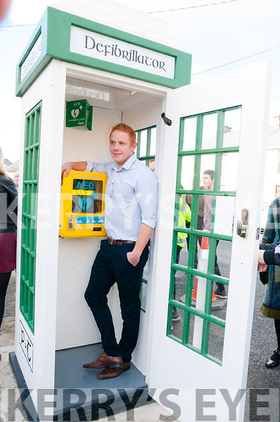 Athea Defibrillator Telephone Box: Tommy Hassett pictured in the telephone defibrillator box that he constructed.