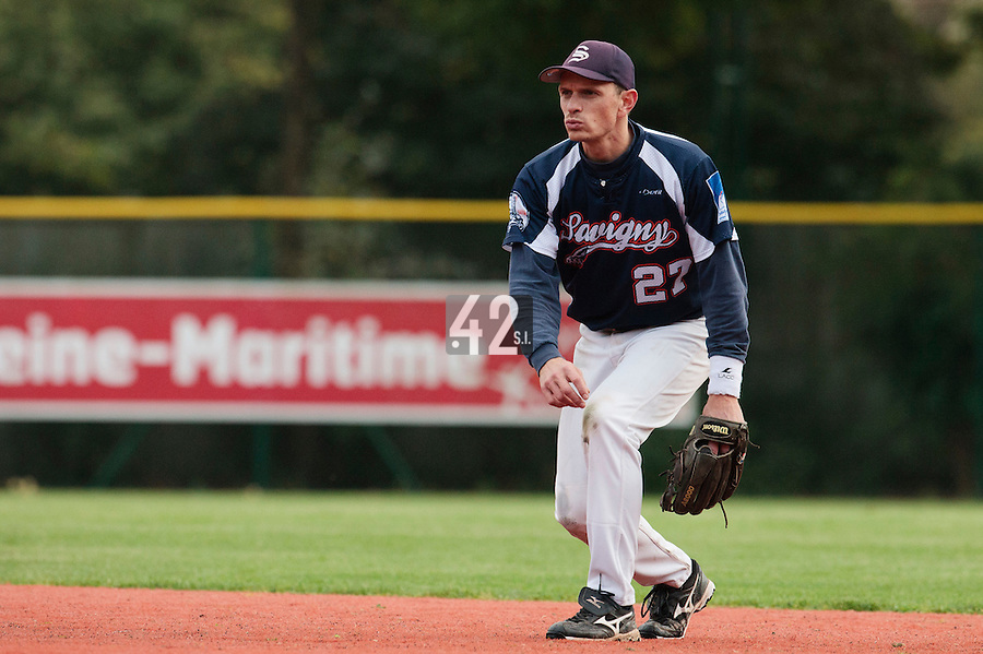 23 October 2010: Fabien Proust of Savigny is seen during Savigny 8-7 win (in 12 innings) over Rouen, during game 3 of the French championship finals, in Rouen, France.