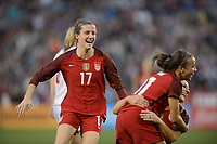 San Diego, Ca - Sunday, January 21, 2018: Tierna Davidson Mallory Pugh Julie Ertz during a USWNT 5-1 victory over Denmark at SDCCU Stadium.