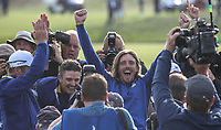 Tommy Fleetwood (Team Europe) celebrates during Sunday's Singles, at the Ryder Cup, Le Golf National, Île-de-France, France. 30/09/2018.<br /> Picture David Lloyd / Golffile.ie<br /> <br /> All photo usage must carry mandatory copyright credit (© Golffile | David Lloyd)