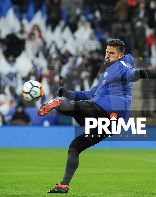 Olivier Giroud of Chelsea pre match during the FA Cup QF match between Leicester City and Chelsea at the King Power Stadium, Leicester, England on 18 March 2018. Photo by Stephen Buckley / PRiME Media Images.