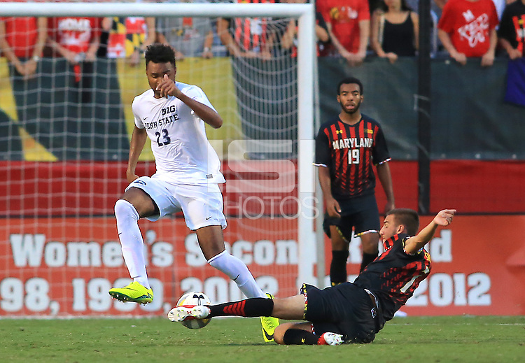 College Park, MD - Sunday, September 18, 2016: Maryland defeated Penn State 3-2 in a Big 10 men's soccer match at Ludwig Field.
