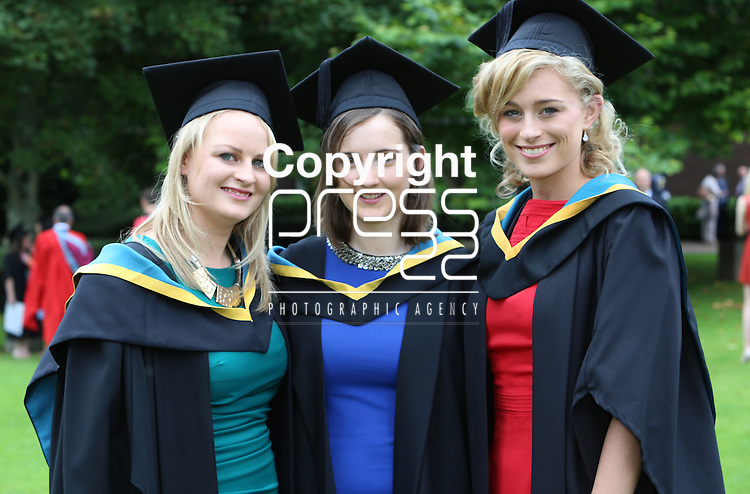 24/8/2014  With Compliments.  Attending the University of Limerick conferrings Laura Shiel, Tynagh, Galway, Jayne Ronayne, Dunmore, Galway and Aisling Flaherty, Barna, Galway all conferred with a BSc(Education) Biological Sciences.<br /> Picture Liam Burke/Press 22