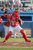 Batavia Muckdogs catcher Jonathan Keener #7 during an exhibition game against the Newark Pilots of the Perfect Game Collegiate Baseball Lague at Dwyer Stadium on June 15, 2012 in Batavia, New York.  Batavia defeated Newark 8-0.  (Mike Janes/Four Seam Images)