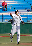 February 22, 2013:  Nevada Wolf Pack pitcher Bradey Shipley make the throw to first agianst the Northern Illinois Huskies during their NCAA baseball game played at Peccole Park on Friday afternoon in Reno, Nevada.