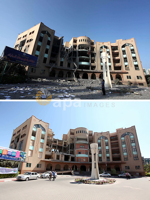A combination of pictures made on July 7, 2015 shows (top) a general view shows the damage at the Islamic University of Gaza on August 2, 2014 in Gaza City after it was hit in an overnight Israeli strike, and the same place (bottom) on July 7, 2015, a year after the 50-day war between Israel and Hamas' militants. Photo by Ashraf Amra