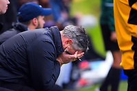 Team Wellington goalkeeping coach Steve Dimakis reacts to a decision during the Oceania Football Championship final (second leg) football match between Team Wellington and Auckland City FC at David Farrington Park in Wellington, New Zealand on Sunday, 7 May 2017. Photo: Dave Lintott / lintottphoto.co.nz