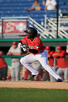 Batavia Muckdogs Milton Smith II (33) bunts during a NY-Penn League game against the Auburn Doubledays on June 19, 2019 at Dwyer Stadium in Batavia, New York.  Auburn defeated Batavia 5-0 in the second game of a doubleheader.  (Mike Janes/Four Seam Images)
