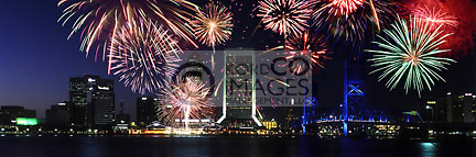 FIREWORKS DOWNTOWN SKYLINE JACKSONVILLE FLORIDA USA