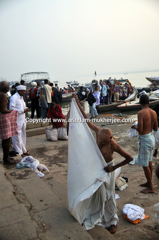 A busy ghat at Varanasi, Uttar Pradesh, India.