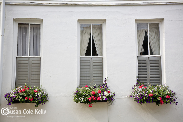 Three windows in the Battery district,  Charleston, SC, USA