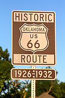 Historic Route 66 sign for 1926 to 1932 allignment in Tulsa Oklahoma.