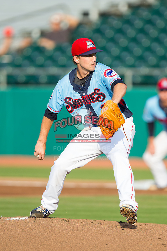 Tennessee Smokies starting pitcher Corey Black (2) in action against the Mississippi Braves at Smokies Park on July 22, 2014 in Kodak, Tennessee.  The Smokies defeated the Braves 8-7 in 10 innings. (Brian Westerholt/Four Seam Images)