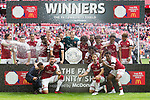 Arsenal lift the Shield after the The FA Community Shield match at Wembley Stadium, London. Picture date 6th August 2017. Picture credit should read: Charlie Forgham-Bailey/Sportimage