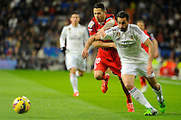 Real Madrid´s Alvaro Arbeloa and Sevilla's Vitolo during 2014-15 La Liga match between Real Madrid and Sevilla at Santiago Bernabeu stadium in Alcorcon, Madrid, Spain. February 04, 2015. (ALTERPHOTOS/Luis Fernandez) /NORTEphoto.com
