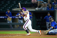 Weston Jackson (15) of the Clemson Tigers follows through on his swing against the Duke Blue Devils in Game Three of the 2017 ACC Baseball Championship at Louisville Slugger Field on May 23, 2017 in Louisville, Kentucky. The Blue Devils defeated the Tigers 6-3. (Brian Westerholt/Four Seam Images)